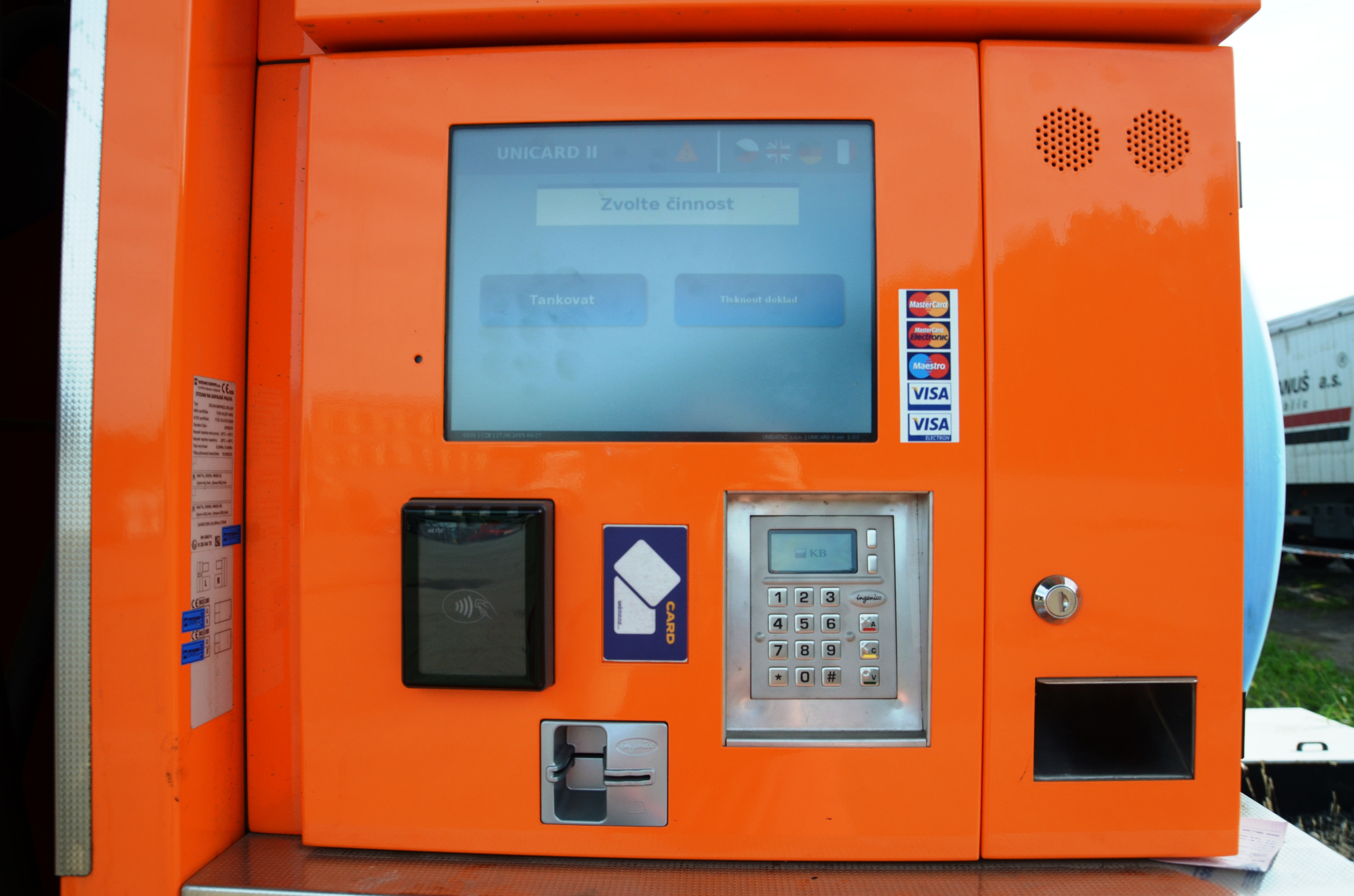 Standing automated teller (ATM) for pumping